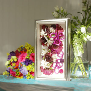 a beautiful arrangement of wedding keepsakes
